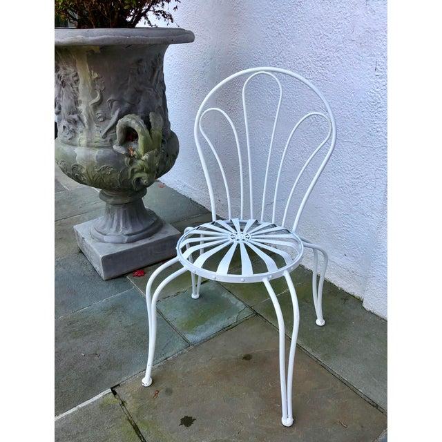 1930s Vintage Francois Carre White Sunburst Iron Garden Chair For Sale In New York - Image 6 of 12