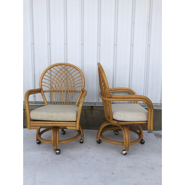 Vintage Glass Top Rattan Table and Wheeled Chairs Set - Set of 5 For Sale - Image 10 of 13