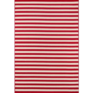 "Momeni Baja Red Stripe Indoor/Outdoor Rug - 7'10"" X 10'10"""