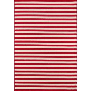 """Momeni Baja Red Stripe Indoor/Outdoor Rug - 7'10"""" X 10'10"""" For Sale"""