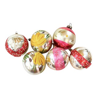 Vintage Mid-Century Glass Christmas Ornaments, Set of 6 For Sale