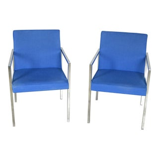 Hibriten Vintage Blue Chrome Armchairs - A Pair For Sale
