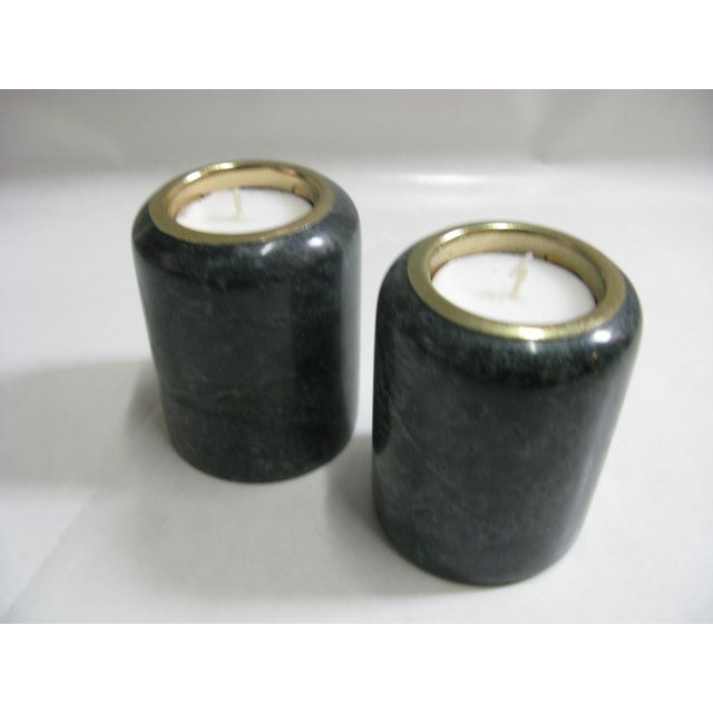 1980s Green Marble Candle Holders - a Pair For Sale - Image 4 of 10
