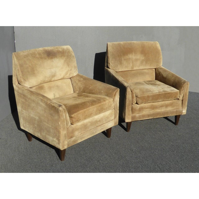 Mid-Century Modern Vintage Marge Carson Mid-Century Modern Tan Suede Accent Chairs - a Pair For Sale - Image 3 of 13