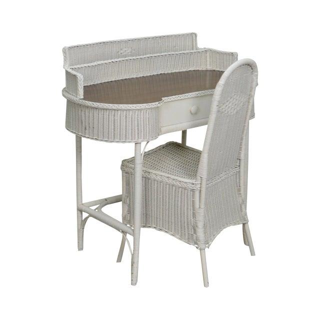 Antique Wicker Desk Vanity W Chair