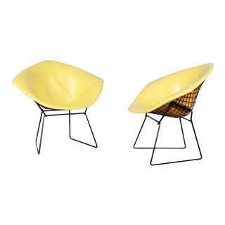 Pair Mid Century Harry Bertoia Knoll Diamond Chairs For Sale