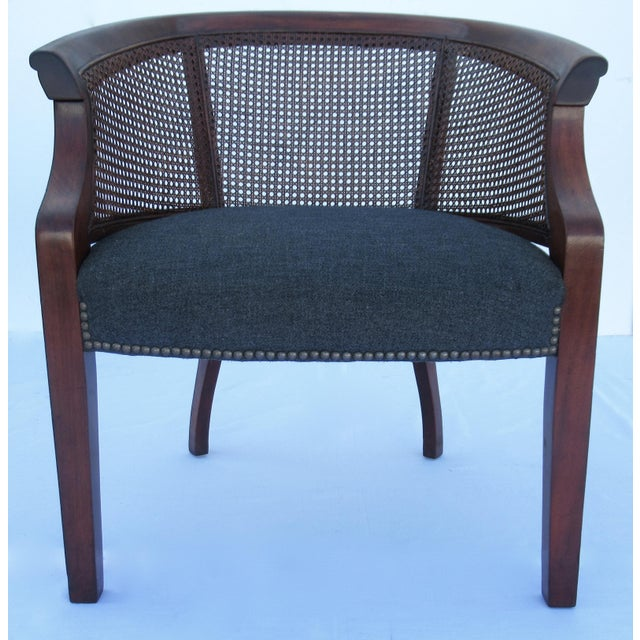 1960s Vintage C.1968 Mahogany Barrel Back & Caned Arm Chairs With Brass Nail Heads - a Pair For Sale - Image 5 of 13