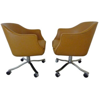 Desk Chairs by Nicos Zographos in Palomino Leather For Sale