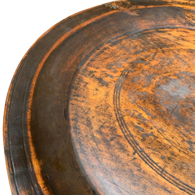 Large 19th Century Antique Turned Wood Tray For Sale - Image 4 of 9
