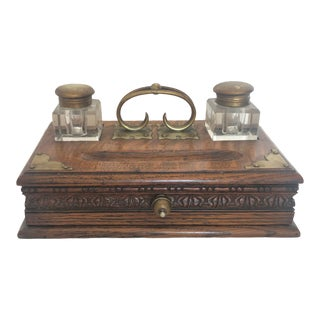 Antique Art Nouveau Writing Desk With Letter Holder and Two Ink Wells For Sale