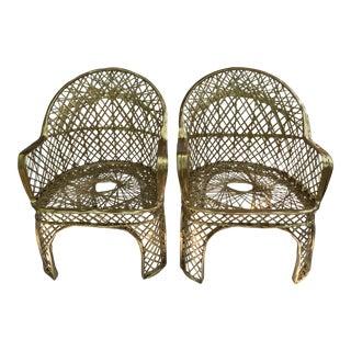 Spun Fiberglass Arm Chairs - A Pair