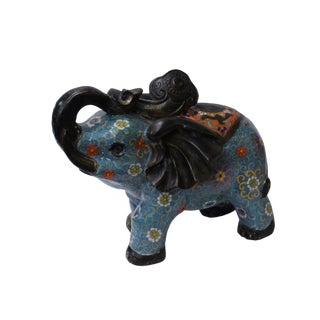 Oriental Chinese Metal Blue Enamel Cloisonne Elephant Figure For Sale