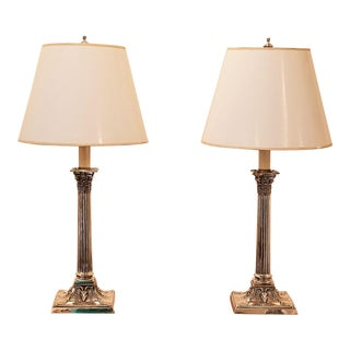 Pair of Silver Plate Candlestick Lamps For Sale