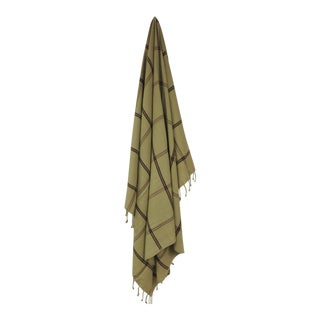 Woven Green and Brown Himalayan Cashmere Throw With Hand-Knotted Fringes For Sale