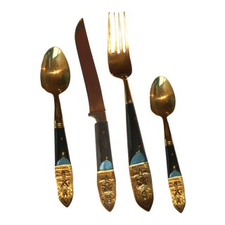 S. Samran Thailand Vintage Bronze & Rosewood Cutlery Set - 36 Pieces For Sale