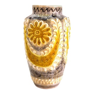 Italian Mid-Century Modern Pottery Vase with Floral Decor For Sale