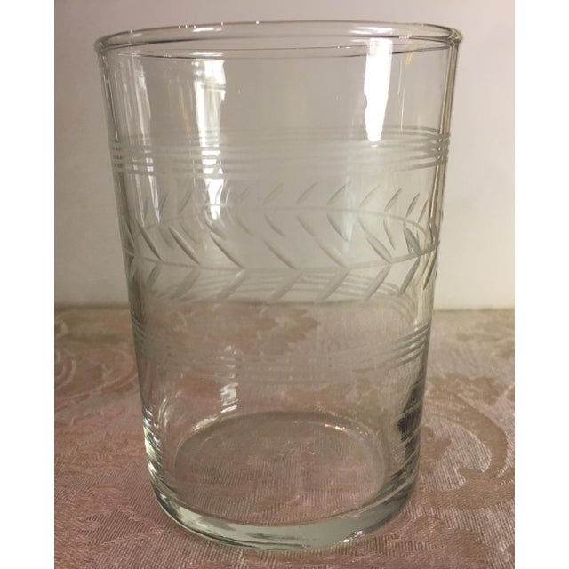 Mid-Century Etched Glass Juice Glasses - Set of 6 For Sale In Dallas - Image 6 of 9