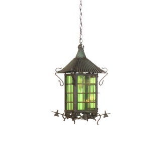 Green Arts & Crafts Lantern For Sale