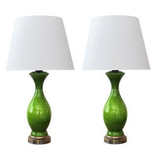 Shapely 1960's Apple-Green Cased-Glass Baluster-Form Lamps - a Pair W/ Shades For Sale