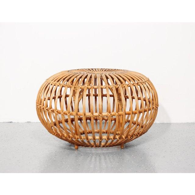 Beautiful sculptural rattan ottoman/pouf/side table designed by Franco Albini.