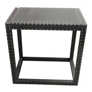 Transitional Leather Side Table With Silver Nailheads For Sale