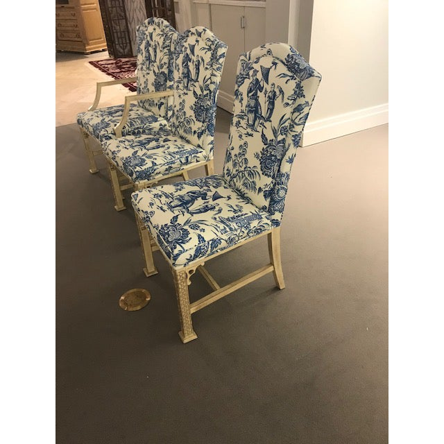 Chinoiserie 1990s Vintage Century Chinoiserie Chippendale Dining Chairs- Set of 8 For Sale - Image 3 of 11