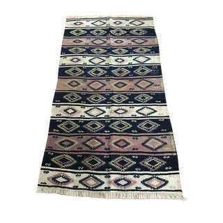 Anatolian Embroidered Kilim Rug Runner - 3′1″ × 4′11″ For Sale