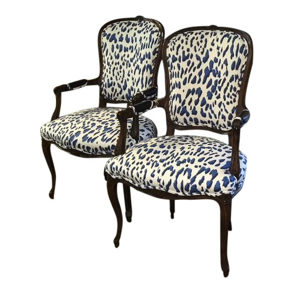 Blue Leopard Bergere Chairs - a Pair For Sale