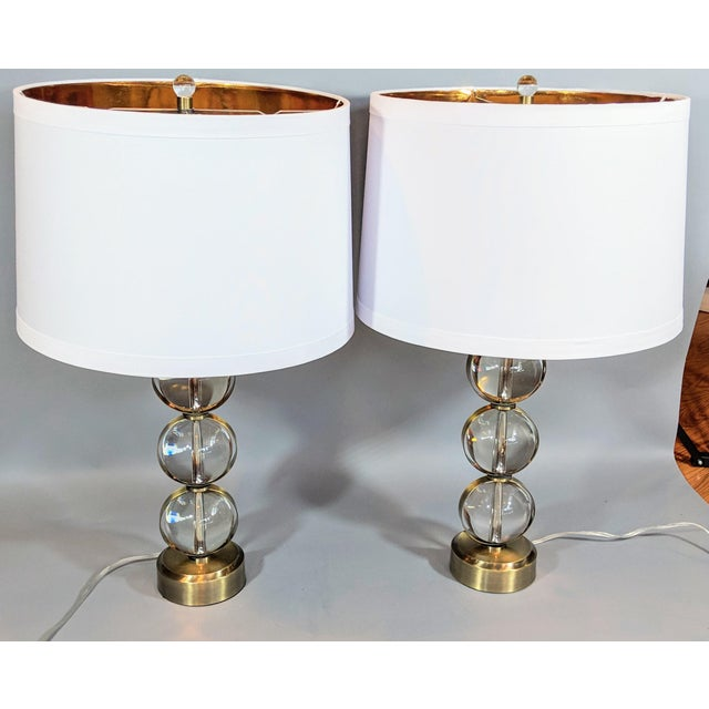 Global Views Crystal Ball Lamp in Brass With Linen & Gold Lined Shade - a Pair For Sale - Image 13 of 13
