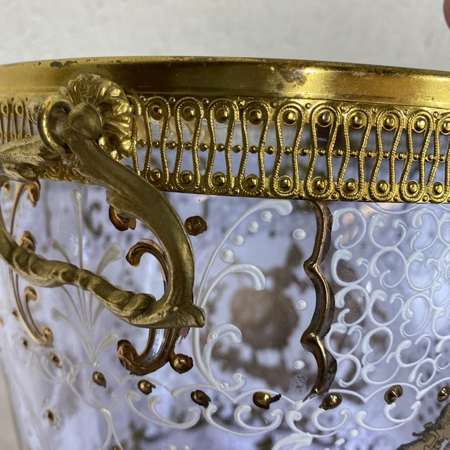 Hand Painted Venetian Glass & Brass Ice Wine Bucket For Sale In Richmond - Image 6 of 10