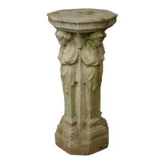 Vintage Cast Stone Garden Pedestal of 4 Maidens For Sale