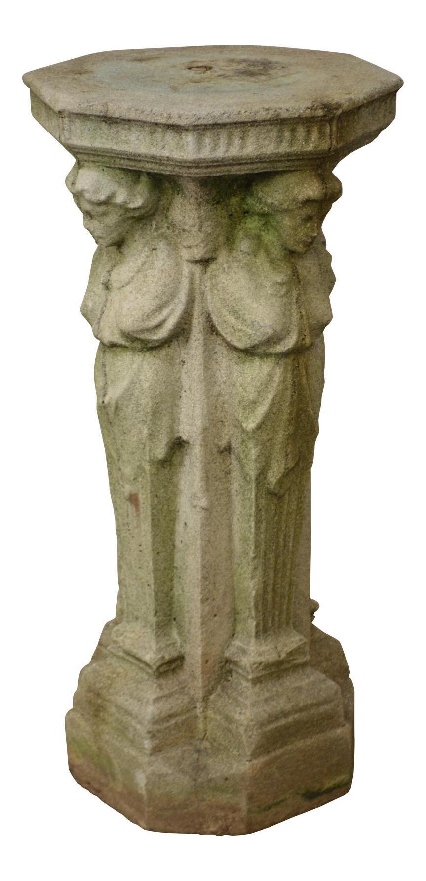 Exceptionnel Vintage Cast Stone Garden Pedestal Of 4 Maidens