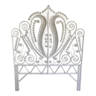 White Peacock Rattan Headboard