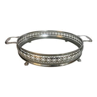 1970s Low Round Silverplate Dish Holder For Sale