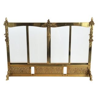 Brass French Fire Screen with Sling Glass Doors