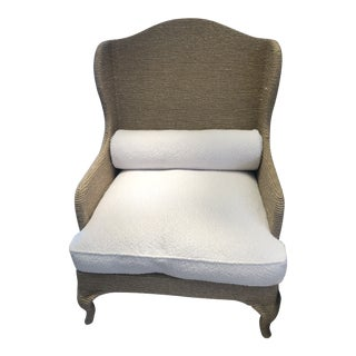 Christian Astuguevieille Contemporary Woven Hemp Wing Chair For Sale