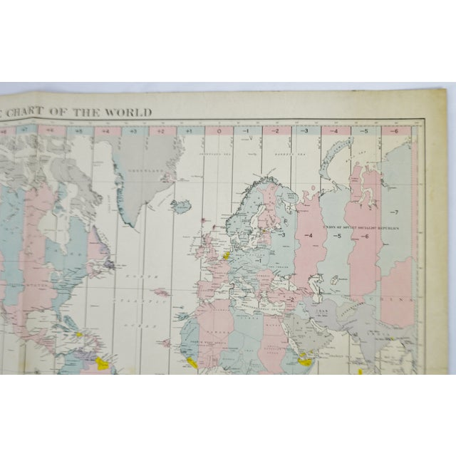1940 Time Zone Chart of The World | Chairish