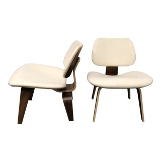 Herman Miller Eames Upholstered Molded Plywood Dining Chairs - A Pair