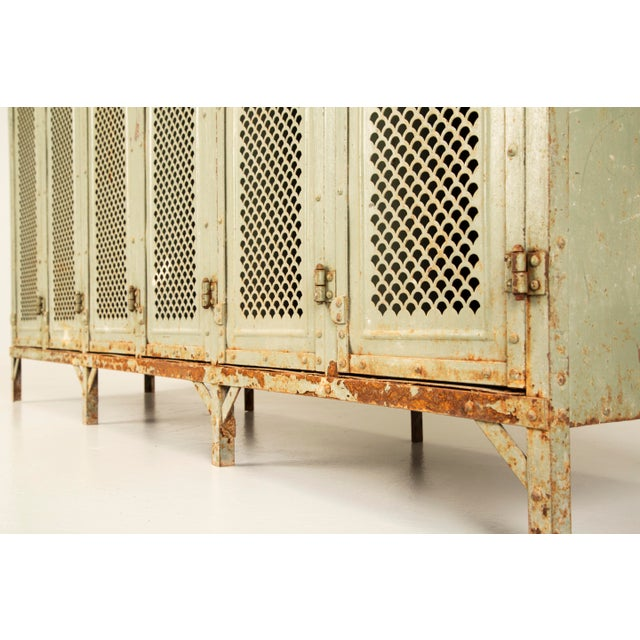 Industrial Antique French Industrial Original Painted Lockers For Sale - Image 3 of 12