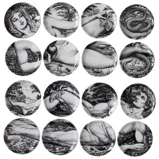 Two Complete Sets of Fornasetti Adam and Eve Coasters For Sale