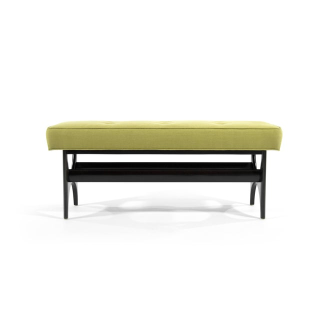 """Mid-Century Modern inspired """"DC Sculptural Walnut Bench"""". Handcrafted from solid walnut, shown in an ebony finish...."""