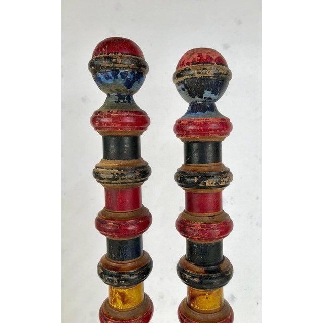 Vintage Croquet Posts in Custom Block Stands - Set of 10 - Image 10 of 11