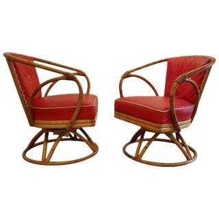 Organic Modern Swivel Lounge Chairs by Heywood Wakefield For Sale