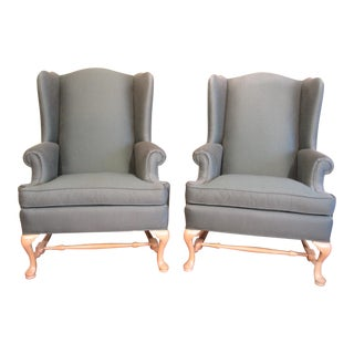 Green Ethan Allen Wing Chairs - Pair For Sale