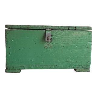 Vintage Green Wooden Trunk For Sale