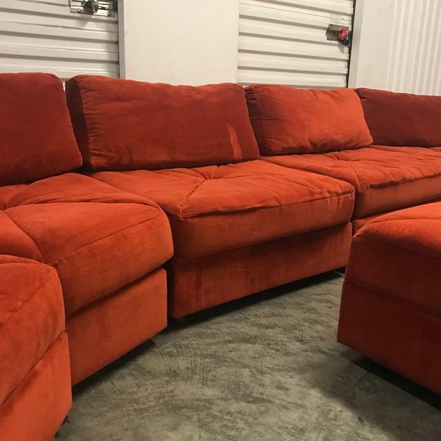 Vintage Retro Rust Velvet Sectional Sofa - Image 2 of 7