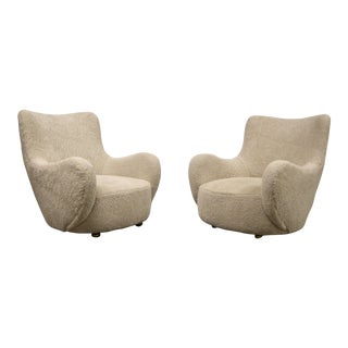 1950s Vintage Vladimir Kagan Fireside Lounge Chairs - A Pair For Sale