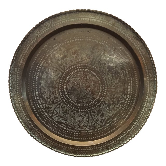 """Large Vintage Mid-Century Chinese Brass Tray 28"""" For Sale"""