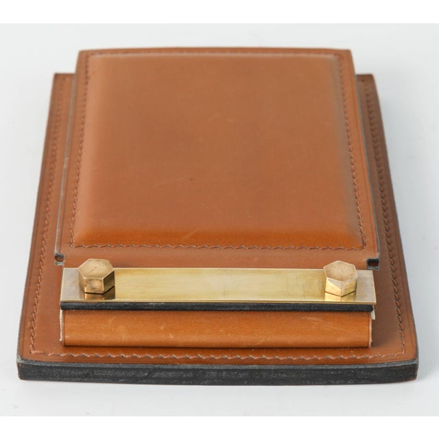 Delvaux Paris Leather and Brass Note Pad and Letter Rack Desk Set - 2 Pc. For Sale In Los Angeles - Image 6 of 10