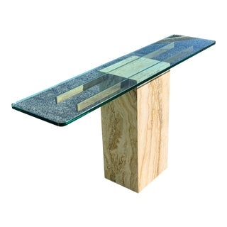 Travertine Marble Entry Table by Artedi For Sale